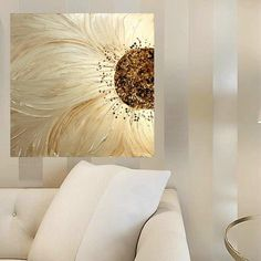 Original Contemporary modern impasto abstract art acrylic on canvas painting Title....Petals Of My Heart Textured in rich metallic pearl with brown accents Dimensions: 30 x 30 x 1 High quality gallery canvas, edges painted black - Ready to hang on wall ***Made to order***your painting will