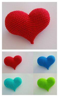 Crochet 3D Stuffed Pop Heart Free Pattern