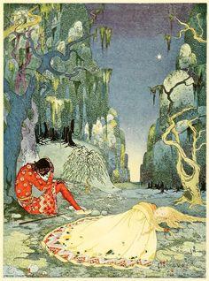 vintage illustrations, arabian nights, fairy tales, franc sterrett, book illustrations