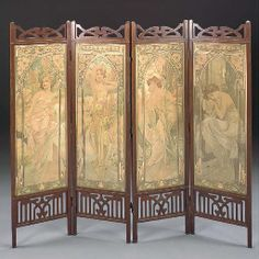 'THE TIMES OF THE DAY', A SET OF FOUR LITHOGRAPHS IN COLORS  ALPHONSE MUCHA, CIRCA 1899 Floor Screen, Dressing Screen, Oriental Furniture, Alphonse Mucha, Norman Rockwell, Painted Furniture, Antique Furniture, Everyday Objects, Art Object
