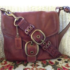 Genuine Coach Bleeker Flap Leather Shoulder Bag Single Braided Adjustable Strap
