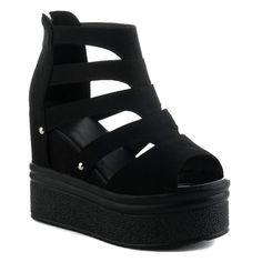 platform sandals| $19.45  punk pastel goth nu goth harajuku gyaru fachin sandals shoes platforms heels wedges under20 under30 sammydress
