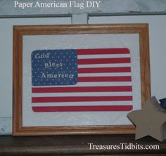 Quick Paper American Flag - From Scrap Paper American Decor, American Made, American Flag, Decorating Small Spaces, Porch Decorating, Red Candles, Home Organization Hacks, Fall Diy, Simple House