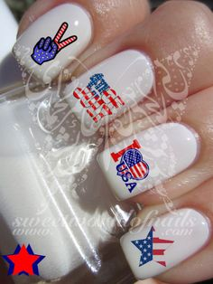 Nail Art USA Heart 4th of July Nail Water Decals Transfers Wraps