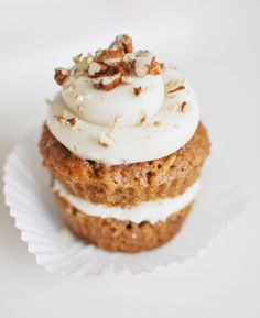 carrot cake cupcake recipes - Like the way these are split with icing in the middle, just like a full sized cake would be!!