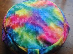 Zafu Meditation Cushion, Yoga Pillow filled with buckwheat hulls, Rainbow colours of the chakras, zen, carry handle, handmade