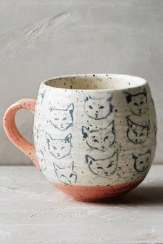 Oops I thought these were foxes :P, either way it is still adorable <3 | Cat Study Mug by Leah Goren