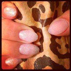 Glitter acrylic almond shape nails!