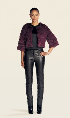 TAMED bordeaux fur jacket, with ONYX black silk top and SLEEK black leather pant  | Etcetera Holiday 2013 Collection