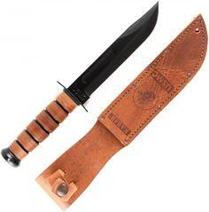 KA-BAR USMC Tactical Knife with Brown Leather Sheath