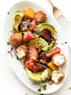 Beet, Avocado and Fried Goat Cheese Salad | beets, shallot, fried goat cheese, avocado, pistachios, microgreens