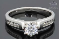 1.00 Ct Round Brilliant Diamond Cut Solitaire Engagement Ring 14K White Gold #Beijiojewels #SolitairewithAccents