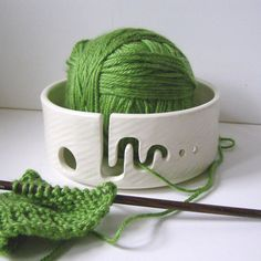 """In stock, ready to ship- SM 6"""" yarn bowl for knitters and crocheters, white ceramic handmade pottery in stock  and ready to ship on Etsy, $40.00"""