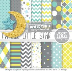 Little Star Baby Shower Theme, Digital Paper, Glitter Moon, star clipart, Patterns Baby Shower theme, yellow, turquoise, teal blue, confetti
