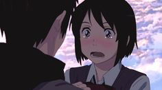 Mitsuha and Taki - Kimi no Na Wa Anime Gifs, Anime Manga, Animation, Mitsuha And Taki, Kimi No Na Wa Wallpaper, Couple Manga, The Garden Of Words, Your Name Anime, Anime Triste