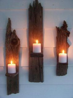 Driftwood Candle Wall Sconces - a great DIY! Driftwood Candle Holders, Wall Candle Holders, Candle Stands, Driftwood Crafts, Driftwood Ideas, Driftwood Shelf, Driftwood Furniture, Driftwood Beach, Creation Deco