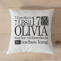 This pillow cover fits perfectly with any nursery decor and is the perfect gift for a new mom!  ***Leave ALL PERSONALIZED INFO in the note to seller box when you check out. Please note that due to the high demand of this product a proof will not be sent with this order. Your order will be made just like the image shown with the exact info you give us - thanks!  For a full list of our FAQs and many other details visit our website: http://parrischic.com/  DESCRIPTION Our pillows are designed…