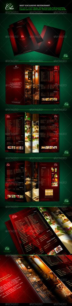 "Buy Restaurant Menu Chic by serzik on GraphicRiver. Food Menu for Exclusive Restaurant ""Chic"". 8 x PSD files: Cover front, welcome, Cover back. Restaurant Menu Template, Restaurant Menu Design, Weekly Menu Template, Menu Printing, Fashion Design Template, Print Templates, Menu Templates, Cafe Menu, Drink Menu"