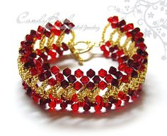Red and Gold Splendid Swarovski Crystal Cuff Bracelet with gold toggle clasp by CandyBead