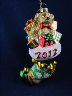2012 Radko Sparkle Bright Christmas Stocking w/Toys & Teddy Glass Ornament NWT