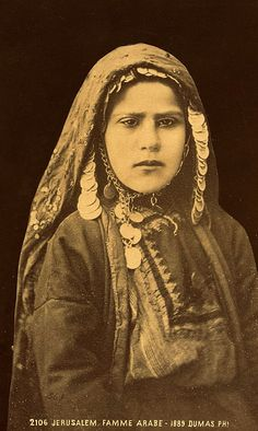 """Jerusalem. Famme Arabe"". ca. 1860 - 1900   Vintage print; photographer Tancrède R. Dumas."