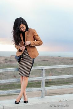 Caramel stripes + leather paneled skirt