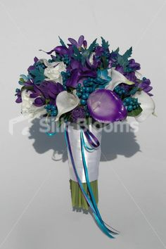 Teal And Purple Wedding Colors | , Teal and Purple Calla Lily & Freesia Bridal Bouquet Modern, Teal ...