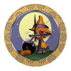 Cute Magical Bubble Witch Art Wall Clock! #Witch #Magic #Clock #Halloween #Samhain