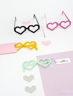 Heart Glasses Valentine Cards Template / Mr Printables