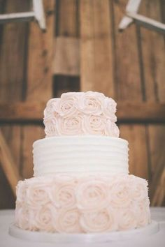 Gorgeous and simple blush rosettes, The Windmill Winery, Barn Wedding Arizona So excited for our tasty wedding cake! Blush Wedding Cakes, Elegant Wedding Cakes, Wedding Cake Designs, Wedding Cake Toppers, Wedding Cake Simple, Wedding Shower Cakes, Small Wedding Cakes, Trendy Wedding, Wedding Ring