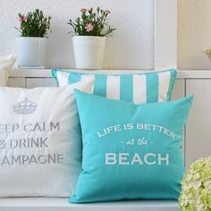 Outdoor and Indoor Pillows by chillisy, 2013 - Life is better at the Beach / Keep Calm & Drink Champagne – Mention at Mag. Homes & Gardens . © chillisy, photo by Isa Schütze Keep Calm And Drink, Fun Drinks, Life Is Good, Chill, Champagne, Home And Garden, Good Things, Throw Pillows, Beach