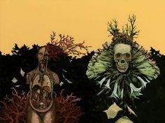 Wrap around cover illustration for Thomas Ligotti's Death Poems. Illustration by Richard A. Kirk.