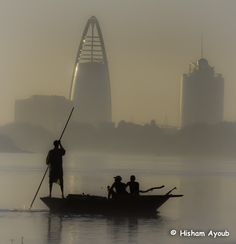 Fishermen at the confluence of the Blue and White Niles, Khartoum