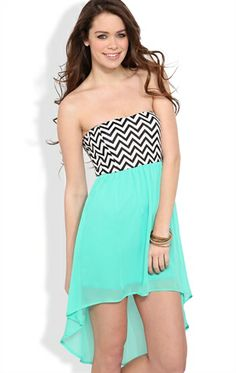 Deb Shops High Low Dress with a Chevron Bodice  $24.67
