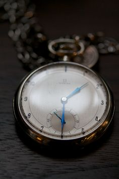 love the blue hands on this pocket watch #style
