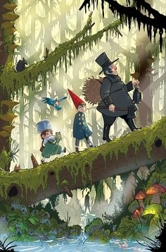 Exclusive: Pat McHale announces Over the Garden Wall comic book series <<Oh my god, I about lost my crap when I saw the Beast in this pic. Garden Wall Art, Over The Garden Wall, Garden Walls, Adventure Time, Wall Drawing, Fan Art, Fandoms, Cool Walls, Wall Wallpaper