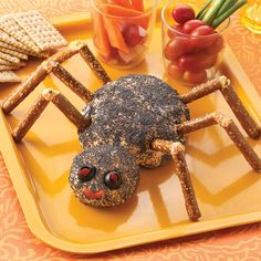 This southwestern-flavored cheese ball is shaped into a black spider to spook all your guests at your next Halloween gathering!