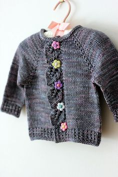 Cascade baby sweater, knitted in Tanis Fiber Arts 'Dove'