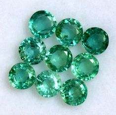 1.23 CTS Natural Emerald Round Cut 3.50 mm Lot 09 Pcs Lustrous Untreated Loose Gemstones Semi Precious Gemstones, Loose Gemstones, Emerald Gemstone, Natural Emerald, Just Amazing, Jewelry Sets, Nature, Etsy, Products
