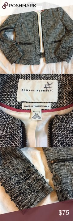 Banana Republic Chanel style jacket Stunning! Black and white tailored banana republic jacket. Made of Italian fabric. Beautifully lined and in perfect condition. Rough fabric edge details and zippers at pockets and sleeves give it an edgy feel. It's a classic. Banana Republic Jackets & Coats