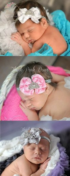 This princess-inspired tiara crown headband features a silky and chiffon bow adorned with a tiny rhinestones tiara set on a silver sparkly elastic headband. Felt-backed for comfort. Explore hairbands for newborn babies at http://thinkpinkbows.com/collections/bow-headbands/products/tiara-bow-headband?variant=1084736663   Kids Fashion