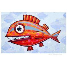 """Red with Blue Stripes"". Fish Art by artist F. Fish Artwork, Sea Life Art, Fish Ocean, Comic Styles, Colorful Fish, Illustration Artists, Painting Art, Cartoon Art, Insta Art"