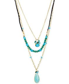 Haskell Gold-Tone Three-Row Turquoise Necklace - Fashion Jewelry - Jewelry & Watches - Macy's