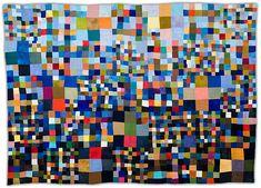 """Blue Progression 9 Patch  2008, 61"""" x 84""""  Eleanor McCain Art Quilts"""