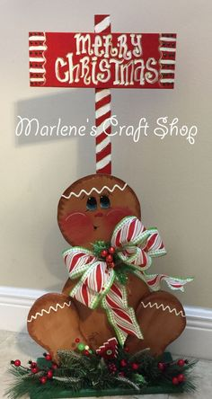 Gingerbread Decoration,Christmas Gingerbread Stand,Gingerbread man Decoration, Gingerbread Stand /Candyland Decoration, porch stand/ stand by MarlenesCraftShop on Etsy Gingerbread Man Decorations, Gingerbread Christmas Decor, Gingerbread Crafts, Christmas Wood Crafts, Decoration Christmas, Christmas Signs, Outdoor Christmas, Xmas Decorations, Christmas Art
