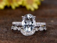 2.5 Carat Oval Aquamarine Wedding Ring Set Diamond Matching Band 14k White Gold Art Deco Curved Stacking