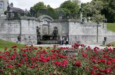 Roses by the sundial fountain, Powerscourt Gardens in Wicklow. www.powerscourt.ie