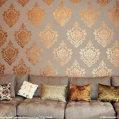 This elegant, versatile Ornamental Cartouche damask wall stencil pattern looks great stenciled as a repeating allover pattern on wall, as a random motif, and even as a single stencil focal point. Stencil Pattern Size: x Sheet Size: x Layer DesignSKU Damask Wall Stencils, Wall Stencil Designs, Wall Stencil Patterns, Wallpaper Designs For Walls, Stencil Wall Art, Bird Stencil, Stencil Painting On Walls, Diy Wand, Wall Texture Design