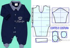 Male baby overalls with the step by step of the mold