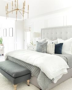 Home Decor Christmas Idea Neutral master bedroom design ideas with gray tufted headboard and brass chandelier.Home Decor Christmas Idea Neutral master bedroom design ideas with gray tufted headboard and brass chandelier Master Bedroom Design, Home Bedroom, Modern Bedroom, Bedroom Decor, Bedroom Designs, Beds Master Bedroom, Master Bedroom Furniture Ideas, Bedroom Ideas Grey, Bedroom Ideas Master For Couples